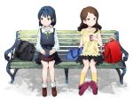 2girls backpack bag bench black_hair blue_eyes blush brown_eyes brown_hair hat hat_removed headwear_removed idolmaster idolmaster_million_live! kitazawa_shiho long_hair looking_away mogami_shizuka multiple_girls phone randoseru shirop_imas younger