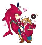 !! 2boys blush blush_stickers carrying chibi fishman full_body hair_ornament heart heavy jewelry link manos monster_boy multiple_boys open_mouth sidon simple_background the_legend_of_zelda the_legend_of_zelda:_breath_of_the_wild trembling white_background yaoi zora