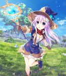 1girl blush breasts cleavage cleavage_cutout day dogoo fantasy four_goddesses_online:_cyber_dimension_neptune gloves grass hair_ornament hat highres lavender_hair long_hair looking_at_viewer magic medium_breasts nepgear neptune_(series) open_mouth purple_hair sky solo staff tree tsunako violet_eyes witch_hat