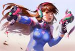 1girl aiming_at_viewer animal_print bangs blue_background bodysuit bracer breasts brown_eyes brown_hair bunny_print charm_(object) d.va_(overwatch) debris dual_wielding eyelashes facepaint facial_mark finger_on_trigger foreshortening gloves gradient gradient_background gun handgun headphones high_collar highres holding holding_gun holding_weapon lips long_hair looking_at_viewer medium_breasts messy_hair nose overwatch pilot_suit pink_lips pistol ribbed_bodysuit serious shoulder_pads skin_tight solo swept_bangs upper_body weapon whisker_markings white_gloves yuket