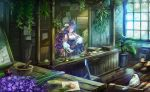 1girl animal_ears bird breasts cat_ears character_request cleavage copyright_request detached_sleeves green_eyes hair_over_one_eye highres jewelry large_breasts long_hair looking_away looking_down necklace plant potted_plant purple_hair samu_(a117216) solo vial