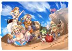 3boys 3girls armpits ayla_(chrono_trigger) blonde_hair breasts chrono_trigger cleavage crono faceplant glasses helmet high_ponytail kaeru_(chrono_trigger) large_breasts long_hair looking_at_viewer lucca_ashtear magus marle multiple_boys multiple_girls nuezou one_eye_closed ponytail robo shield smile