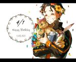 1boy ^_^ bangsutur blush bottle box brown_hair character_name closed_eyes confetti english feathers flower gift gift_box grin happy_birthday head_wreath highres jacket letterboxed long_sleeves natsuki_subaru number open_clothes open_jacket pink_ribbon re:zero_kara_hajimeru_isekai_seikatsu ribbon short_hair smile solo striped striped_ribbon stuffed_animal stuffed_toy teddy_bear track_jacket upper_body white_background white_ribbon wine_bottle