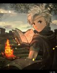1boy back boey_(fire_emblem) book brown_eyes cape circlet dark_skin dark_skinned_male fingerless_gloves fire fire_emblem fire_emblem_echoes:_mou_hitori_no_eiyuuou gloves grass highres kometubu0712 leaf male_focus sky solo teeth tree upper_body white_hair