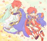 2boys 2girls aqua_hair armor armored_boots belt blue_eyes blue_hair blush boots bracelet cape capelet chibi couple dress eliwood_(fire_emblem) face-to-face fingerless_gloves fire_emblem fire_emblem:_fuuin_no_tsurugi fire_emblem:_rekka_no_ken flower gloves hair_ornament hand_on_another's_cheek hand_on_another's_face hat headband hetero jewelry kappaman lilina long_hair long_sleeves multiple_boys multiple_girls ninian open_mouth red_eyes redhead robe roy_(fire_emblem) shoes short_sleeves skirt smile spiky_hair traditional_media