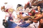 >:) >_< 1boy 5girls :d ^_^ alice_margatroid apron arm_cannon armpits ascot bangs bare_arms bird_wings black_dress blonde_hair blue_dress blush bow breasts brown_hair cape capelet chibi closed_eyes cookie_(touhou) damenano104 detached_sleeves dress fine_art_parody floating_hair flying frying_pan hair_between_eyes hair_bow hair_tubes hairband hakurei_reimu hat highres horn_bow horns ibuki_suika kanna_(cookie) kirisame_marisa large_breasts layered_skirt lolita_hairband long_hair multiple_girls neck_ribbon nontraditional_miko nude open_mouth outstretched_arms parody pose puffy_short_sleeves puffy_sleeves red_eyes red_shirt red_skirt reiuji_utsuho ribbon rock sarash sarashi sash shirt short_hair short_sleeves sidelocks skirt skirt_set sleeveless sleeveless_shirt smile spread_arms touhou very_long_hair waist_apron weapon wings witch_hat xd xo