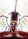 1girl ascot bangs blonde_hair closed_mouth commentary_request crystal flandre_scarlet full_body greatsword hair_between_eyes hair_ribbon highres huge_weapon looking_at_viewer no_hat no_headwear planted_sword planted_weapon pool_of_blood puffy_short_sleeves puffy_sleeves red_eyes red_ribbon red_skirt red_vest ribbon ripples short_hair short_sleeves side_ponytail sinkai sitting skirt skirt_set smile solo sword touhou v_arms vest wariza weapon wings