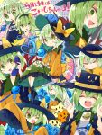 6+girls :3 bell bell_choker black_hat blue_rose bow choker closed_eyes cosplay floral_print flower green_eyes green_hair green_skirt hand_on_own_chin hat hat_bow heart heart_of_string highres jingle_bell knife komeiji_koishi komeiji_satori komeiji_satori_(cosplay) looking_at_viewer multiple_girls multiple_persona multiple_views nikorashi-ka one_eye_closed open_mouth phone rose school_swimsuit shirt skirt sleeves_past_wrists smile swimsuit teeth third_eye too_many too_many_koishi touhou wide_sleeves x) yellow_bow yellow_shirt