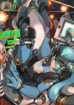 1girl bangs black_hair blue_bodysuit blue_boots blue_eyes bodysuit boots breasts cable cockpit commentary commentary_request drawing_tablet elbow_gloves full_body gloves hair_ornament hair_tie hatsune_miku helmet highres holding holding_pen holographic_interface holographic_touchscreen knee_pads long_hair looking_back mecha nose open_mouth original perspective pilot pilot_suit science_fiction sitting solo somehira_katsu stylus twintails vocaloid