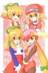 4girls :d :o argyle argyle_background bangs bare_shoulders blonde_hair blue_shirt blunt_bangs blush bodysuit cabbie_hat collarbone commentary_request cowboy_shot dress eyebrows_visible_through_hair gloves green_eyes green_ribbon hair_ribbon hat helmet holding kururi_(krkrkururi_rcm) long_hair long_sleeves looking_at_viewer low-tied_long_hair multiple_girls multiple_persona open_mouth pink_background pink_bodysuit pink_gloves ponytail red_dress red_hat red_shirt ribbon rockman rockman_(classic) rockman_dash rockman_exe roll roll_caskett roll_exe shirt sidelocks sleeveless sleeveless_dress smile turtleneck twitter_username undershirt upper_body very_long_hair wrench yellow_outline