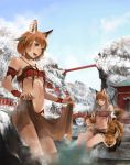 3girls :d animal animal_ears architecture bandeau bangs bare_tree bath blue_sky blunt_bangs bracelet breasts bridge brown_eyes brown_hair brown_skirt closed_mouth clouds commentary_request day east_asian_architecture feathers fox fox_ears fox_girl hair_feathers jewelry long_hair looking_at_viewer medium_breasts midriff mountain multiple_girls navel necklace onsen open_mouth original outdoors partially_submerged pink_lips rock scenery short_hair shrine sitting skirt skirt_removed sky smile snow soaking_feet somehira_katsu standing steam stone tail teeth tree tribal under_boob wading water wet winter