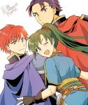 1girl 2boys alternate_eye_color armor black_gloves blue_cape blue_dress blue_eyes blue_hair blush cape closed_mouth copyright_name dress dutch_angle eliwood eliwood_(fire_emblem) fingerless_gloves fire_emblem fire_emblem:_rekka_no_ken friends gloves hair_between_eyes happy hector hector_(fire_emblem) long_hair looking_at_viewer looking_back lyndis_(fire_emblem) multiple_boys nintendo noshima one_eye_closed open_mouth pauldrons ponytail red_cape red_eyes redhead sash serious short_hair short_sleeves smile tiara wink