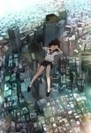 1girl black_hair black_shoes black_skirt blue_eyes building city cityscape commentary_request covered_mouth day falling finger_frame floating_hair from_above full_body hands_up loafers long_hair looking_at_viewer midair miniskirt neckerchief one_eye_closed original outdoors pleated_skirt sailor_collar school_uniform serafuku shirt shoes short_sleeves skirt skyscraper socks solo somehira_katsu white_legwear white_shirt wind