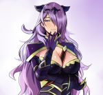 1girl armor black_armor blush breasts camilla_(fire_emblem_if) cleavage fire_emblem fire_emblem_if gloves hair_over_one_eye highres large_breasts lips long_hair looking_at_viewer purple_hair smile solo tiara very_long_hair violet_eyes wavy_hair