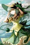 1girl amulet bracelet clouds dutch_angle floral_print frilled_skirt frilled_sleeves frills grass green_eyes hands_up hat horizon jewelry keiko_(mitakarawa) komeiji_koishi long_hair looking_at_viewer open_mouth silver_hair skirt sky smile solo touhou water wind