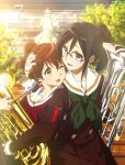 2girls :d ;d bangs black_hair blue_eyes blurry bow brown_eyes brown_hair brown_serafuku building collarbone cover cowboy_shot depth_of_field downscaled dvd_cover euphonium evening female glasses green_bow green_neckerchief green_ribbon hair_between_eyes hand_on_another's_head happy head_hug hibike!_euphonium high_resolution highres holding_instrument hug ikeda_shouko instrument kyoto_animation lens_flare long_hair long_sleeves looking_at_another md5_mismatch multiple_girls mutual_yuri neck neck_ribbon neckerchief official_art one_eye_closed open_mouth oumae_kumiko outdoors pleated_skirt ponytail red-framed_eyewear red-framed_glasses red_neckerchief resized ribbon sailor_collar school_uniform semi-rimless_glasses serafuku short_hair skirt smile stairs standing sunlight tanaka_asuka tied_hair tree white_sailor_collar wince yellow_eyes yuri