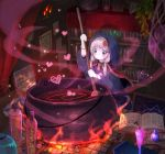 1girl book brown_eyes brown_hair candle cauldron cloak hair_ornament heart kouka_(mrakano5456) looking_away medium_hair open_book original painting_(object) solo stirring stirring_rod