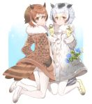 2girls ass black_hair blonde_hair blush brown_eyes brown_hair closed_mouth coat eurasian_eagle_owl_(kemono_friends) eyebrows_visible_through_hair flower full_body fumako fur_collar gloves hair_between_eyes hand_in_pocket kemono_friends legs_up long_sleeves mary_janes multiple_girls northern_white-faced_owl_(kemono_friends) pantyhose shoes smile tail two_side_up white_legwear white_shoes yellow_gloves yellow_shoes