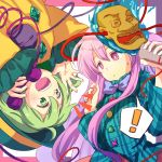 2girls black_hat bow bowtie green_eyes green_hair hat hata_no_kokoro komeiji_koishi mask multiple_girls phone pink_eyes pink_hair plaid plaid_shirt shirt third_eye touhou watase_rei yellow_shirt