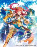 1girl armor armored_boots boots bow bowtie cardfight!!_vanguard company_name flashing_glint_knight gloves green_eyes long_hair navel official_art open_mouth redhead shutsuri sky solo sparkle sword teeth two_side_up weapon