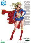 1girl belt blonde_hair boots breasts cape dc_comics hand_on_hip kotobukiya long_hair looking_away midriff skirt supergirl superhero thighs yamashita_shun'ya