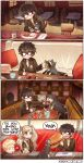 1girl 2boys black_hair blonde_hair blue_eyes cat chair chopsticks commentary fish food glass glasses hamburger ice_cream ice_cream_float kataro kurusu_akira long_hair morgana_(persona_5) multiple_boys persona persona_5 pillow plate sakamoto_ryuuji short_hair spoon steak takamaki_anne twintails