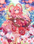 1girl assistance_maiden_lucie braid butterfly cardfight!!_vanguard company_name flower flower-shaped_pupils food fruit hair_flower hair_ornament jewelry leaf long_hair necklace official_art open_mouth peach pink_hair scissors solo sptuel teeth violet_eyes