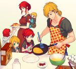 2boys 3girls apron blue_eyes braid cereal child chuu cooking family food french_braid gradient gradient_background green_background green_eyes hair_ornament hairclip if_they_mated jaune_arc ketchup light_smile multiple_boys multiple_girls omelet polka_dot polka_dot_apron pregnant pyrrha_nikos rwby simple_background smile spoon tan_background teeth