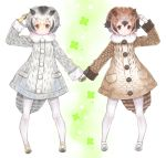 2girls :| black_footwear black_gloves black_hair black_shoes blonde_hair blush brown_coat brown_eyes brown_hair buttons clenched_hand closed_mouth clover clover_(flower) coat dot_nose eurasian_eagle_owl_(kemono_friends) expressionless eyebrows_visible_through_hair floral_background flower four-leaf_clover full_body fumako fur_collar gloves gradient_footwear gradient_hair green_background grey_coat grey_hair grey_shoes hair_between_eyes hand_holding hand_on_head hand_up head_wings kemono_friends large_buttons legs_apart light_brown_eyes light_brown_hair long_sleeves looking_at_viewer mary_janes multicolored multicolored_background multicolored_clothes multicolored_gloves multicolored_hair multicolored_shoes multiple_girls northern_white-faced_owl_(kemono_friends) outline pantyhose parted_lips pocket shoes short_hair silver_hair sleeve_cuffs standing tail tareme triangle_mouth two-tone_footwear white_background white_footwear white_gloves white_hair white_legwear white_outline white_shoes wings yellow_footwear yellow_gloves yellow_shoes