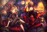 2boys adjusting_clothes adjusting_hat arm_support bat bat_wings black_hair black_legwear black_skirt blonde_hair blue_eyes cape capelet character_doll collared_shirt commentary_request couch demon_archer fang fate/grand_order fate_(series) frilled_skirt frills full_moon gloves granblue_fantasy hat head_wings highres koha-ace legs_crossed long_hair long_sleeves looking_at_viewer military military_hat military_uniform moon multiple_boys night night_sky oda_nobukatsu_(fate/grand_order) open_mouth pointy_ears ponytail red_eyes shadowverse shigaraki_(strobe_blue) shingeki_no_bahamut shirt short_hair sidelocks sitting skirt sky umbrella uniform vampire vampy veight white_gloves white_shirt wings