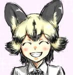 1girl ^_^ african_wild_dog_(kemono_friends) african_wild_dog_ears black_hair blonde_hair closed_eyes collared_shirt extra_ears grin highres kemono_friends multicolored_hair pink_background purin_musha shirt simple_background sketch smile solo two-tone_hair upper_body white_shirt wing_collar