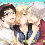3boys ^_^ black_hair blonde_hair blue-framed_eyewear boy_sandwich brown_eyes closed_eyes eyes_visible_through_hair flower glasses green_eyes hair_over_one_eye hug katsuki_yuuri kuroemon male_focus multiple_boys open_mouth sandwiched silver_hair smile v viktor_nikiforov yuri!!!_on_ice yuri_plisetsky