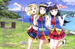 3girls absurdres black_hair blonde_hair blue_hair blue_vest earrings female_service_cap gloves grass happy_party_train hat highres jewelry kurosawa_dia love_live! love_live!_sunshine!! matsuura_kanan mountain multiple_girls official_art ohara_mari open_mouth peaked_cap red_skirt skirt sky smile suzuki_isamu vest water white_gloves