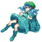 1girl aqua_eyes backpack bag bike_shorts blue_eyes blush boots frown full_body hair_bobbles hair_ornament hat kawashiro_nitori key manarou rubber_boots touhou two_side_up white_background