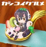 1girl bird black_hair blush brown_eyes chaki_(teasets) chibi cream food fruit full_body gradient_hair grape-kun grapes headphones hug humboldt_penguin humboldt_penguin_(kemono_friends) japari_bun kemono_friends kiwifruit leaf looking_at_viewer multicolored_hair napkin penguin pink_hair short_hair smile solo strawberry two-tone_hair wooden_table