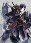 1boy armor bird black_gloves black_hair crow eyepatch gloves japanese_armor katana kuroemon male_focus necktie sheath shokudaikiri_mitsutada smile sode sword touken_ranbu unsheathing weapon yellow_eyes
