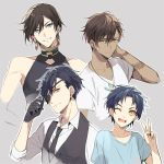 4boys ;d alternate_hair_length alternate_hairstyle black_gloves black_hair blue_eyes blue_hair brown_hair dark_skin dark_skinned_male earrings eyepatch feathers gloves grin hair_feathers izumi-no-kami_kanesada jewelry kuroemon male_focus multiple_boys necktie one_eye_closed ookurikara open_mouth shokudaikiri_mitsutada short_hair smile taikogane_sadamune tattoo touken_ranbu v waistcoat yellow_eyes