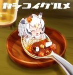 1girl blush chaki_(teasets) chibi closed_eyes coat cup drinking_glass feathers food full_body gradient_hair head_wings kemono_friends looking_at_viewer multicolored_hair northern_white-faced_owl_(kemono_friends) open_mouth rice short_hair solo spoon text tongue two-tone_hair white_hair wooden_table