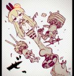 =_= animal_ears arms_at_sides ascot bandage blonde_hair border broken broken_weapon chestnut_mouth chibi chromatic_aberration damaged drooling elbow_gloves fake_animal_ears fake_transparent_background gloves hairband head_bump highres innertube jitome jnt kantai_collection launching long_hair navel open_mouth panties rabbit_ears rensouhou-chan sailor_collar saliva sepia shimakaze_(kantai_collection) shirt signature skirt skirt_down smoke smoke_trail spot_color striped striped_legwear thigh-highs thong torn_clothes torn_gloves torn_panties torn_shirt torn_thighhighs underwear very_long_hair weapon