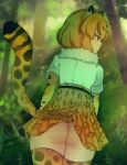 1girl :/ ancolatte_(onikuanco) ass blonde_hair blurry brown_eyes closed_mouth day depth_of_field dutch_angle forest from_behind high-waist_skirt highres jaguar_(kemono_friends) jaguar_ears jaguar_print jaguar_tail kemono_friends looking_to_the_side nature no_panties outdoors pleated_skirt shirt short_sleeves skirt solo striped_tail tail thigh-highs tree white_shirt