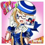 1girl ;) ascot beret blonde_hair blue-framed_eyewear blue_ascot blue_eyes breasts cleavage enta_girl falcoon fatal_fury futaba_hotaru glasses gloves happy_birthday hat highres logo mark_of_the_wolves mascot official_art one_eye_closed polaroid promotional_art semi-rimless_glasses small_breasts smile snk solo the_king_of_fighters white_gloves wrist_cuffs