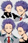 1boy bags_under_eyes blood blue_hair boku_no_hero_academia clenched_teeth face from_side half-closed_eyes highres looking_at_viewer mamao2 necktie red_necktie school_uniform shinsou_hitoshi smile smirk solo sweat tears teeth torn_clothes track_suit upper_body violet_eyes