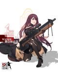 >:o 1girl :o black_dress black_gloves black_legwear breasts choker dress duoyuanjun girls_frontline gloves gun half_gloves high_heels highres kneeling large_breasts long_hair looking_away official_art pantyhose purple_hair red_eyes rifle sidelocks single_glove sniper_rifle solo thighband_pantyhose torn_clothes torn_dress torn_pantyhose very_long_hair wa2000_(girls_frontline) weapon