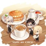 +_+ 3boys :d apron black_hair blonde_hair blue-framed_eyewear blue_eyes brown_eyes butter chibi coffee coffee_mug cup english food fork glasses green_eyes hair_over_one_eye katsuki_yuuri kuroemon makkachin male_focus miniboy multiple_boys necktie open_mouth pancake plate silver_hair smile spoon stack_of_pancakes sugar_cube syrup tea teacup teapot viktor_nikiforov waist_apron waistcoat waiter yuri!!!_on_ice yuri_plisetsky