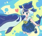1girl abstract_background animal bare_arms blonde_hair blue_dress blue_eyes blue_footwear blue_hair blue_ribbon blue_shoes blush_stickers collarbone collared_dress common_dolphin_(kemono_friends) dolphin dolphin_tail dress eye_contact eyelashes fins frilled_dress frills full_body heart kemono_friends kiss looking_at_another multicolored multicolored_background multicolored_hair neck_ribbon outstretched_arms pleated_dress ribbon rureko_(torimura) sailor_collar sailor_dress shoe_ribbon shoes short_hair sleeveless sleeveless_dress smile submerged tail tareme yellow_ribbon