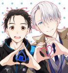 2boys :d ;) black_hair blue_eyes brown_eyes coat food hair_slicked_back heart heart_hands jacket katsuki_yuuri kuroemon male_focus multiple_boys necktie one_eye_closed onigiri open_mouth polka_dot polka_dot_background silver_hair smile track_jacket viktor_nikiforov yuri!!!_on_ice