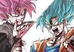 2boys black_eyes blood blood_on_face blood_on_fingers bloody_hands blue_eyes blue_hair dragon_ball dragon_ball_super gokuu_black greymon_(nodoame1215) grin highres multiple_boys open_mouth pink_hair sketch smile son_gokuu super_saiyan super_saiyan_blue super_saiyan_rose veins