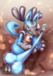 absurdres black_fur blue_fur bone canine highres lucario no_humans pokemon pokemon_(creature) pokemon_(game) pokemon_dppt red_eyes yellow_fur