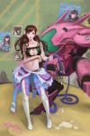 1girl 2016 absurdres artist_name bangs bare_arms bare_shoulders blac_bra black_bra black_panties blue_bodysuit bodysuit boots bra breast_hold breasts brown_eyes brown_hair cat_cutout cat_lingerie character_name cleavage cleavage_cutout collarbone d.va_(overwatch) dated eyelashes facepaint facial_mark full_body gas_pump headphones highres holding hose knee_pads large_breasts legs_apart lipstick long_hair makeup mecha medium_breasts meka_(overwatch) meme_attire midriff nose overwatch panties pilot_suit pink_lips pink_lipstick ribbed_bodysuit san_shou_san side-tie_panties signature smile solo standing stomach swept_bangs thigh-highs thigh_boots thigh_strap underwear whisker_markings white_boots