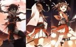 3girls brown_eyes brown_hair gloves hair_bun hair_ornament headband highres holding holding_sword holding_weapon jintsuu_(kantai_collection) kantai_collection katana kisetsu looking_at_viewer moon multiple_girls naka_(kantai_collection) ninjatou open_mouth pointing_sword remodel_(kantai_collection) scarf school_uniform sendai_(kantai_collection) serafuku short_hair skirt smile sword thigh-highs torn_clothes two_side_up waraji weapon zouri